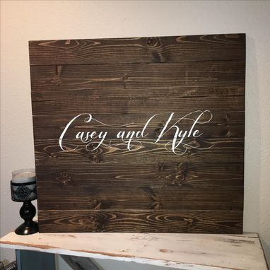 Custom Made 30x30 Wedding Guest Book Wood Sign, Alternative Book With Heart, Couples Last Name Or Initials