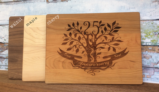 Custom Made 25th Wedding Anniversary Personalized Maple Cutting Board