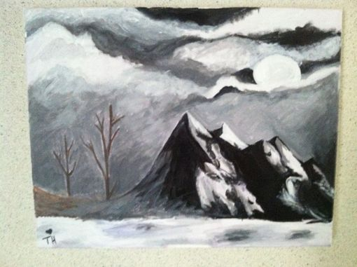 Custom Made Mountain Moon Landscape Painting
