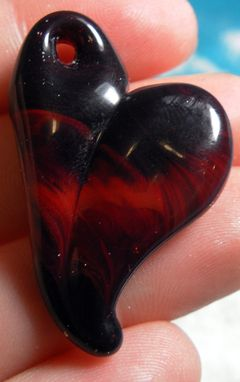 Custom Made Red Gradient Glass Heart Pendant