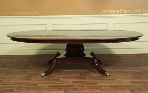 Custom Made American Made Round Mahogany Dining Table With Leaves