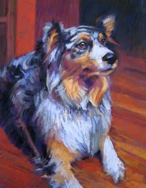 Custom Made Pet Portrait Of An Australian Sheperd In Pastel, 10 X 8 Inches