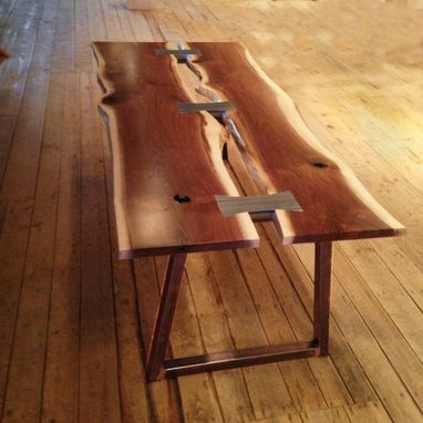 Custom Made Bow Tie Dining Table Shown In Black Walnut Live Edge Slabs