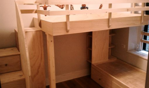 Custom Made Loft Bed Over Captains Bed, With Drawered Steps Leading Up