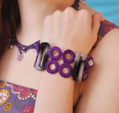 Custom Made Purple Rings Crocheted Cuff Bracelet
