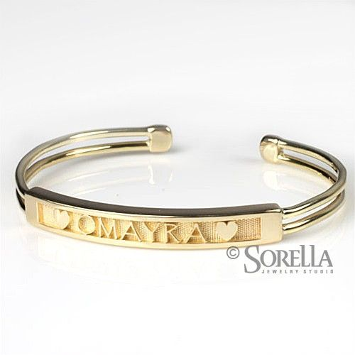 Custom Made Personalized Name Message Cuff Bracelet In 14k Gold