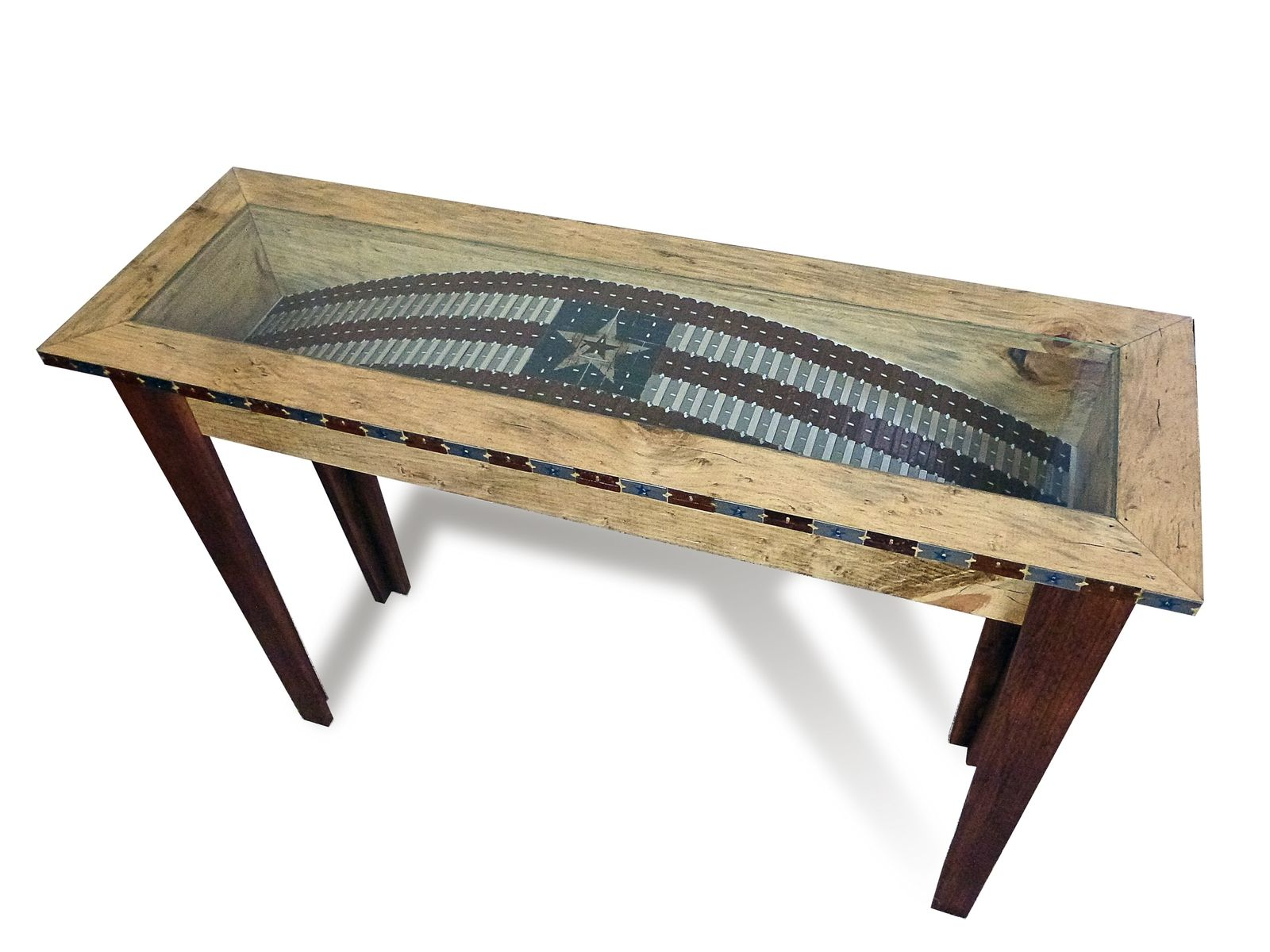Custom made incredible console table featuring original razor custom made incredible console table featuring original razor blade art geotapseo Choice Image