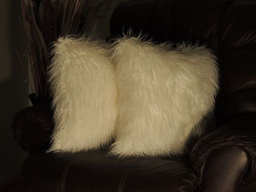 Custom Made Curly Mongolian White Faux Fur 18 X 18 In. Decorative Pillow - Set Of 2