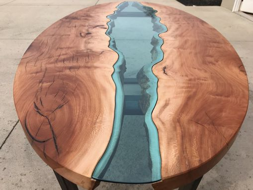 Custom Made Sycamore River Glass Table