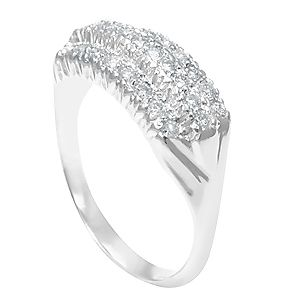 Custom Made 3 Row Diamond Ring