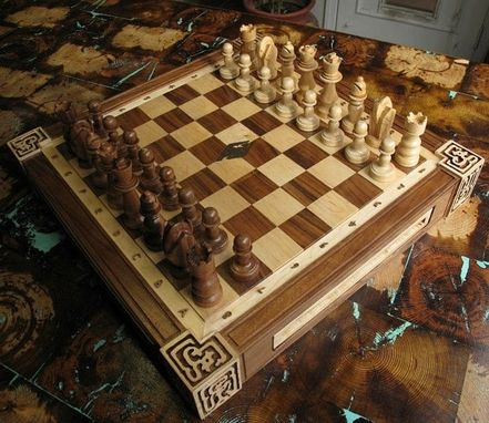Custom Made Medieval Chess Board With Copper Inlay