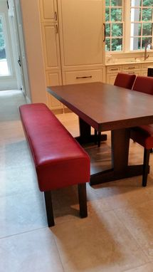 Custom Made Authentic Leather And Walnut Leg Dining Bench