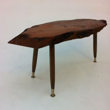 Custom Made Organic Mid Century Modern Style Live Edge Side Table