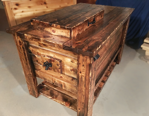 Custom Made Knotty Pine Ice Chest And Cabinet