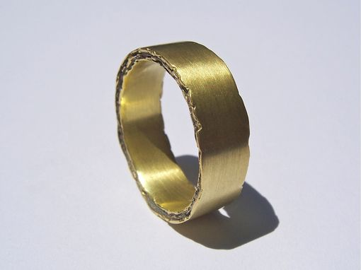 Custom Made 18kt Gold Rough Edge Band 7mm Width-Men's