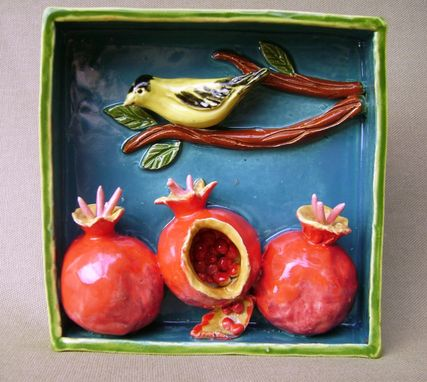Custom Made Yellow Finch On A Branch With Pomegranates
