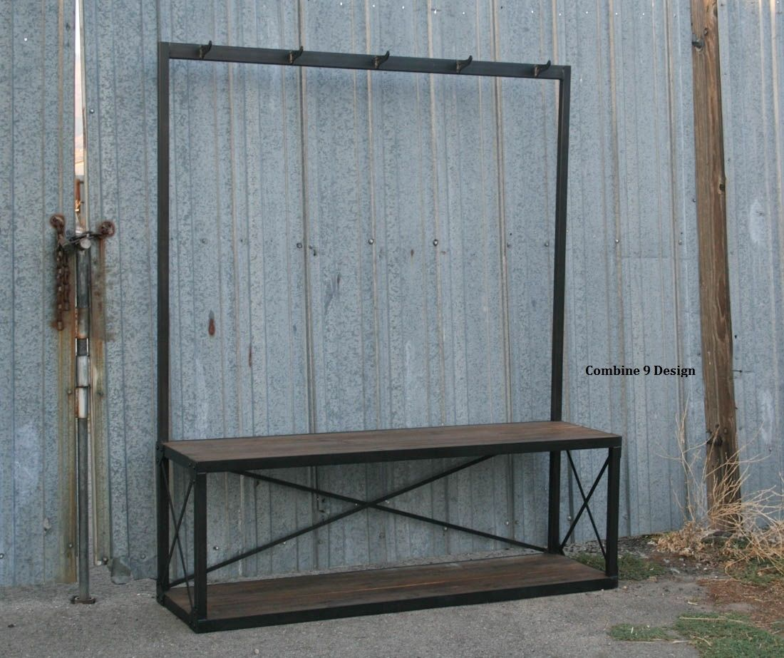 Buy A Handmade Vintage Industrial Coat Rack With Seat
