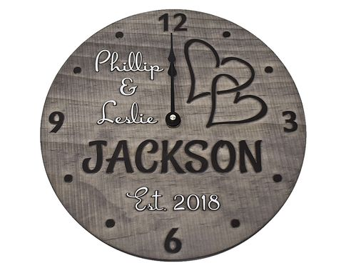 "Custom Made 11"" Personalized Wood Anniversary Clock With Couple's Names And Established Year."