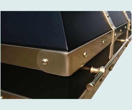 Hand Crafted Black Range Hood With Brass Straps Amp Pot Rail