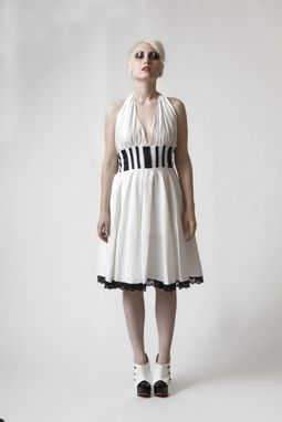 Custom Made Organic Cotton Halter Dress With Stripes, Made-To-Measure