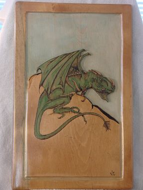 Custom Made Wood Burned  'Dragon' Wall Hanging W/Carving