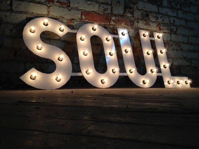 Custom Made Metal Letters Soul Light Fixture 18 Inch Tall Marquee Signage