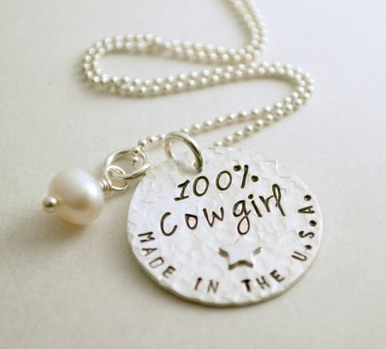 Custom Made Cowgirl Necklace Made In The Usa Hand Stamped Silver
