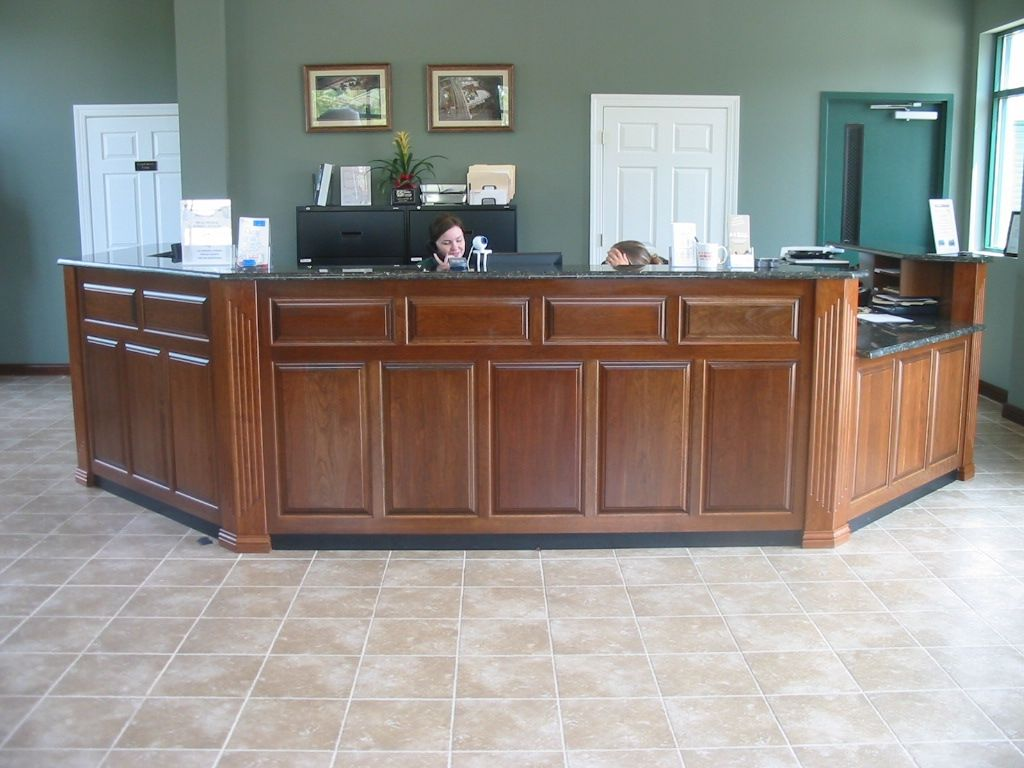 cool custom reception desk furniture | Hand Crafted Caster Reception Desk by Brassfield Custom ...
