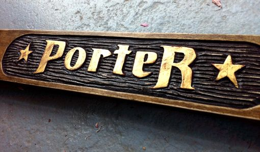 Custom Made Hand Carved & Gilded Lettering On Hardwood Frame