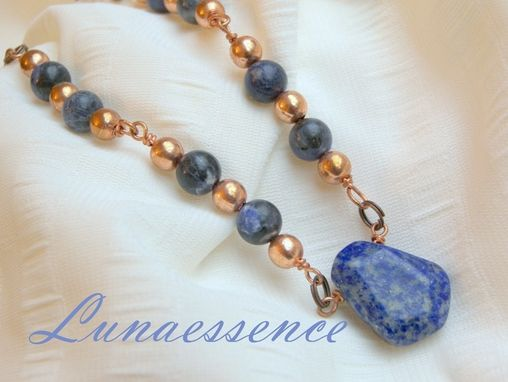 Custom Made Denim Blue Sodalite Copper Pendant Necklace Set