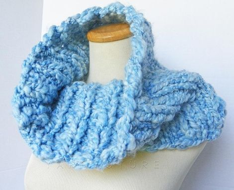 Custom Made The Buknuk Cowl - Oversized Thick Knit Ribbed Cowl - Fall, Winter Fashion - Sky Blue