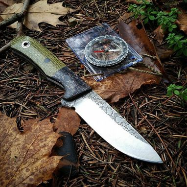 Custom Made Custom Handmade Hunting Knife With Engraved Black Micarta Ha Dle