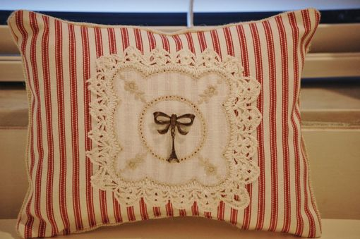 Custom Made Petite French Ticking Coordinated Pillow With Paris Souvenir Eiffel Tower Pin And Vintage Linen
