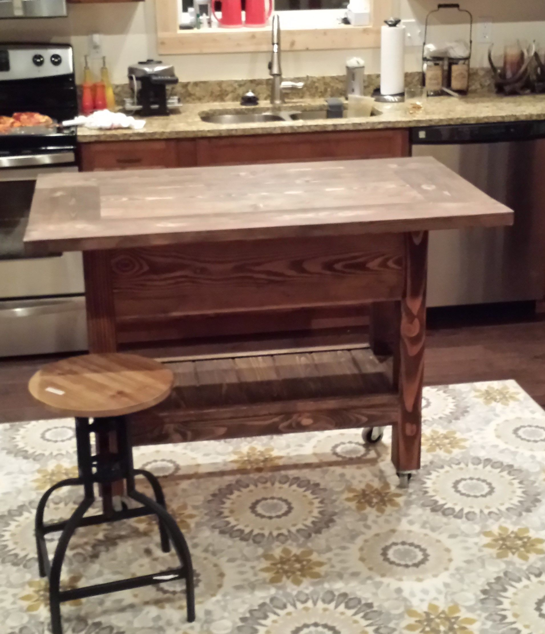 Custom farmhouse kitchen island by mb designs for Custom made kitchen islands
