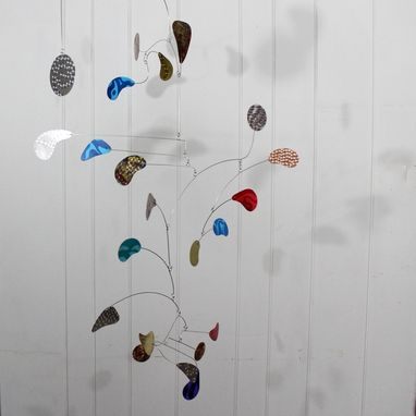 Custom Made Large Mobile Sculpture Featuring Hand Painted And Multi-Metals