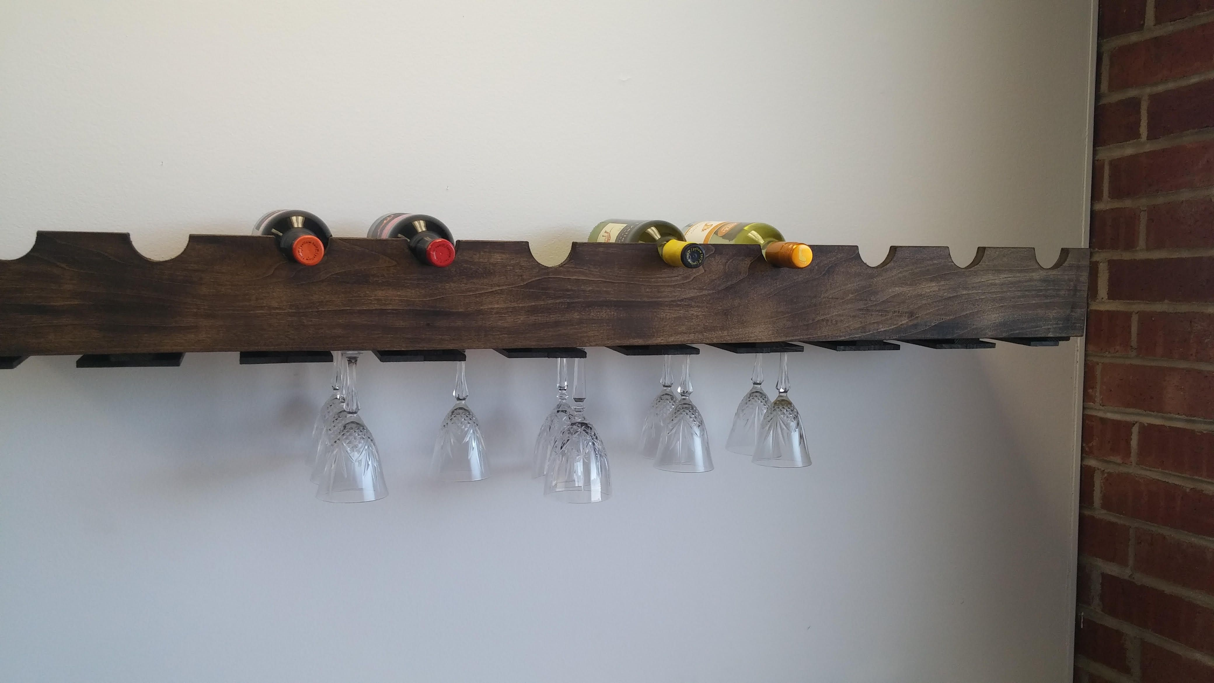 Hand Made Floating Shelf With A Wine Glass Rack And Wine Bottle ...