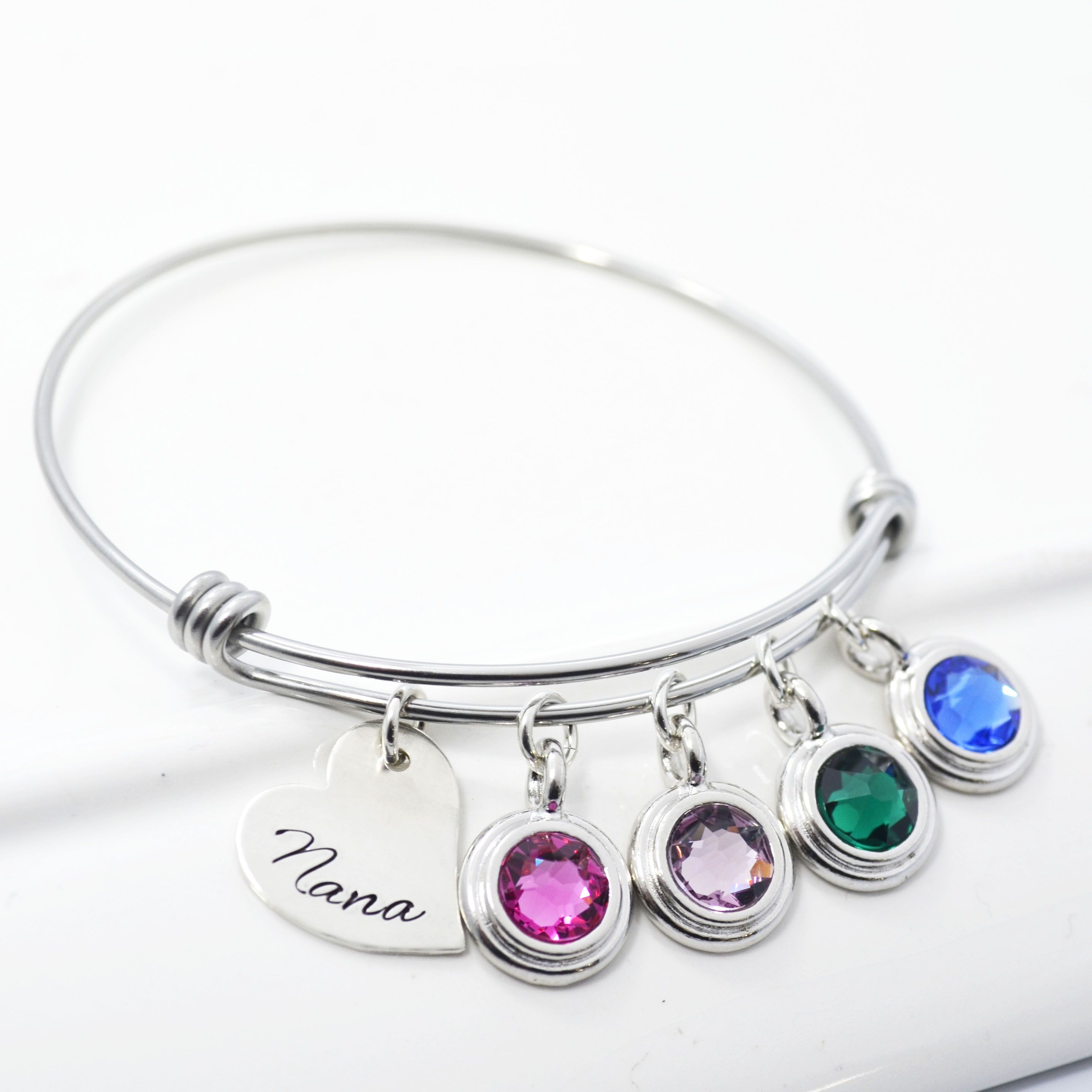 mother charm by bracelet designmejewelry bangle crafted custom bracelets hand bangles child a personalized buy adjustable silver birthstone stackable made