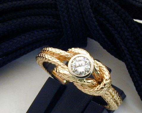 Custom Made Wedding Knot-Ring With Diamond In 14k Yellow Gold