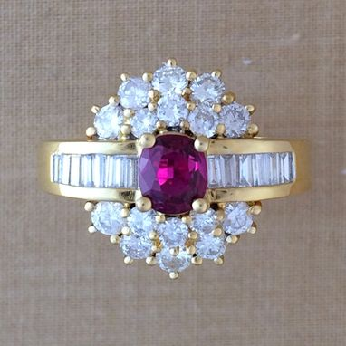 Custom Made Ruby & Diamond Cocktail Ring - Ballerina Ring - July Birthstone - Wedding