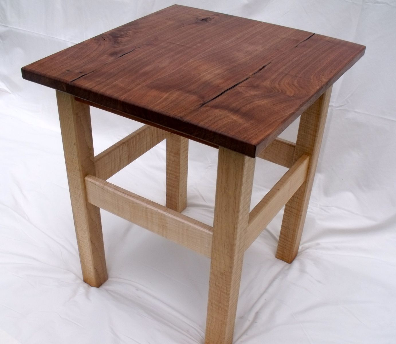 Custom Made End Table Of Walnut Wild Cherry And Flame Maple