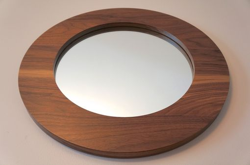"Custom Made 22"" Solid Walnut Round Decorative Mirror"