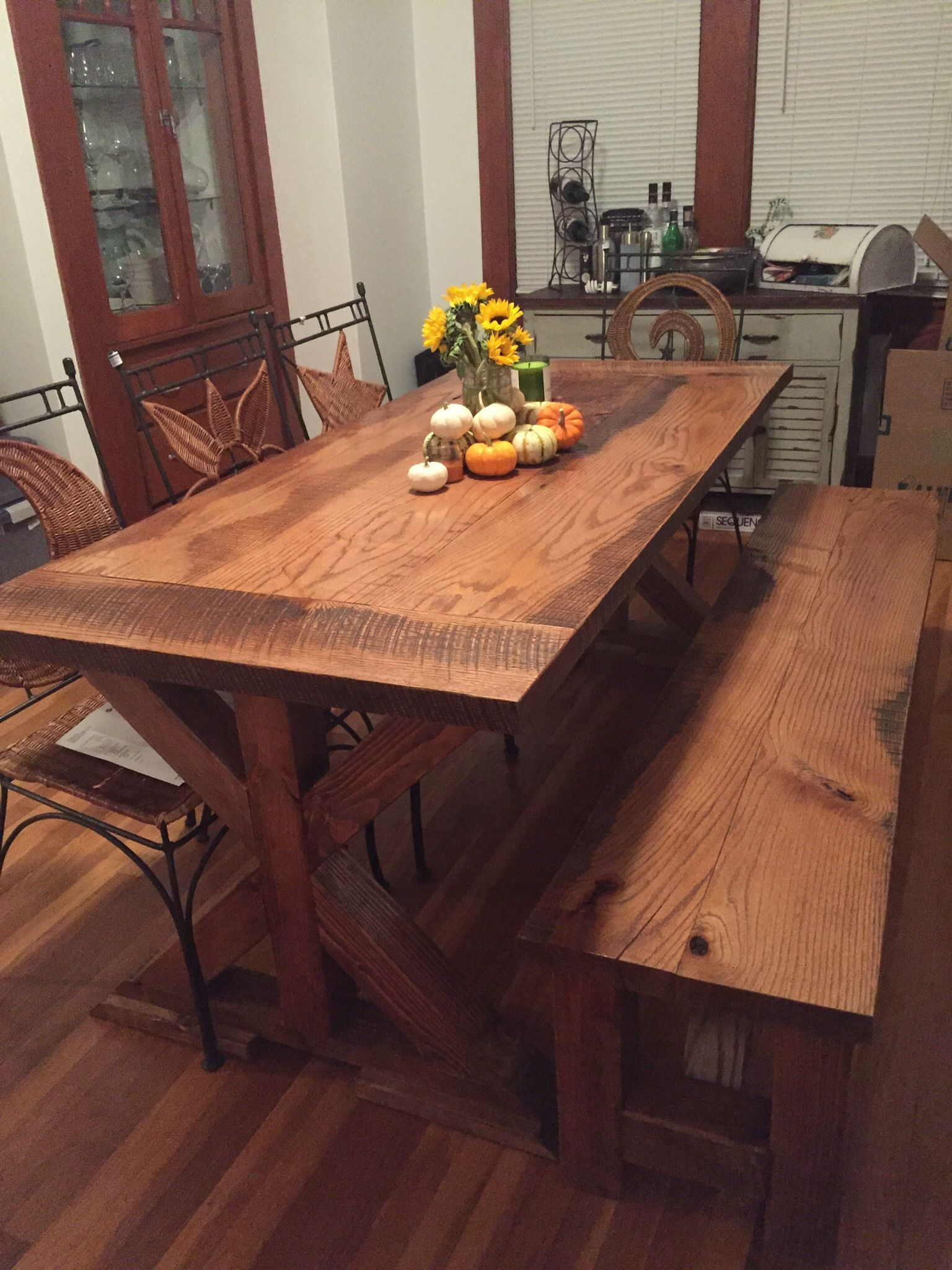 Handmade Reclaimed Oak Farm Table With X Base by Virginia Build
