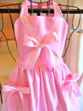 Custom Made Girl's Vintage Style Princess Apron In Pink