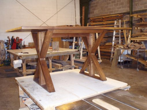 Custom Made Black Walnut Trestle Table