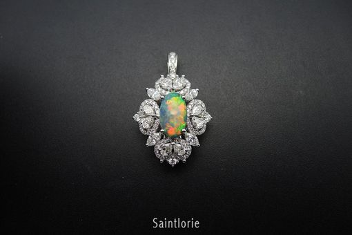 Custom Made 2.6 Carat Black Opal Engagement Ring & Pendant