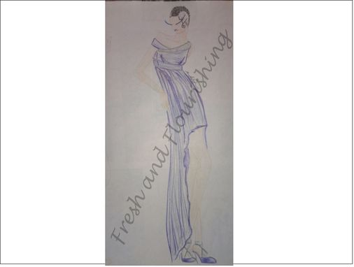 Custom Made Original Design - Hi-Lo Off The Shoulder Evening Gown With Embellishments
