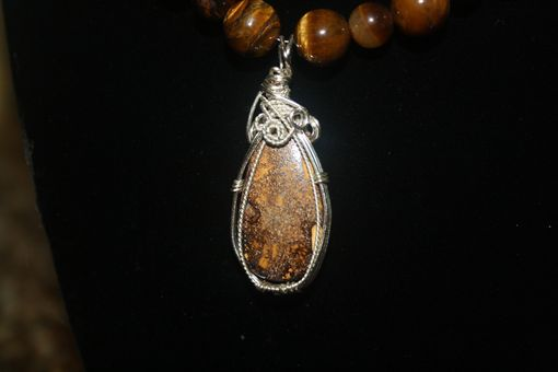 Custom Made 42.65ct Koroit Boulder Opal From Australia, Silver Wire Wrapped Pendant On Tiger Eye Necklace