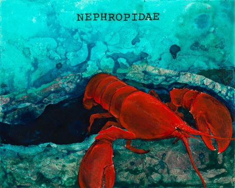 Custom Made Red Lobster - 16x20 Mixed Media Canvas Print From The Sea Of Serenity Series