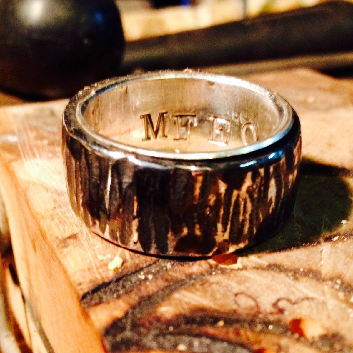 Custom Made Tree Bark Wedding Band In Stainless Steel Men Or Women With Silver Liner