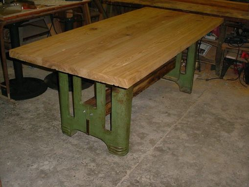 Custom Made Sinker Cypress Tables With Industrial Style Pedestal Metal Legs, Live Or Natural Edges